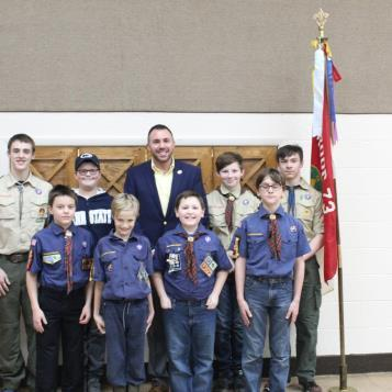 On Feb. 7, state Rep. Ryan Bizzarro sat down with McKean Boy Scout Troop #73 at St. Francis Xavier to discuss public service, his path to becoming a state representative and the importance of public service.