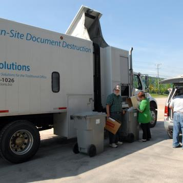 DocSolutions, a subsidiary of Community Action Southwest, provided the equipment so confidential information could be disposed of safely. The free event was held at the Greene County Fairgrounds, Waynesburg.