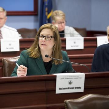 Rep. Leanne Krueger-Braneky attends a Labor and Industry Committee hearing to gather information on a bill that would require a drug formulary for workers comp.