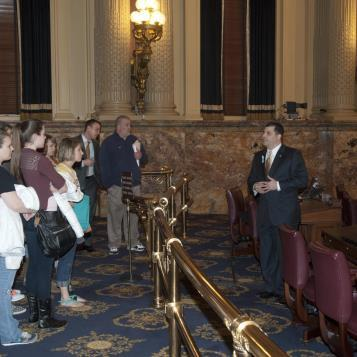 State Rep. Mark Rozzi welcomes students from Antietam High School to the state Capitol. Rozzi gave students a tour of the House Chambers and shared information with them about a legislative session day in Harrisburg. More images from the event can be seen by <a href= 'http://www.pahouse.com/Rozzi/?pg=grpGallery&pgID=921'>clicking here.</a>