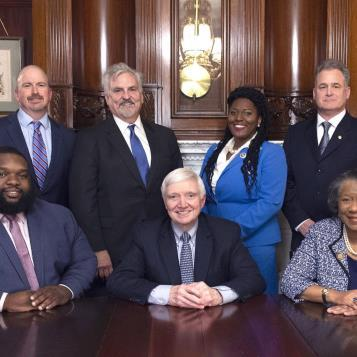 Democratic Leader Frank Dermody is pictured with the House Democrats that make up the new leadership team that will continue to fight for the caucus' Plan For Pennsylvania.  Rep. Jordan Harris is the whip, Rep. Matt Bradford will chair the Appropriations Committee, Rep. Joanna McClinton is the caucus chair, Rep. Rosita Youngblood was re-elected caucus secretary, Rep. Mike Sturla will continue to serve as Policy chair, while Rep. Neal Goodman stays on as caucus administrator.