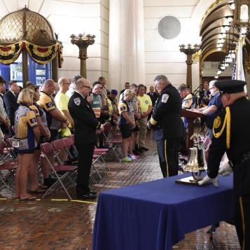 A moment of silence is held during the Sixth Annual Pennsylvania EMS Memorial Service, to honor and remember EMS providers lost in the line of duty.
