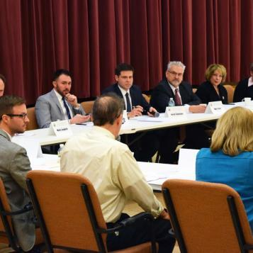 Rep. Jared Solomon hosts the House Democratic Policy Committee for a roundtable discussion in Philadelphia to discuss and clarify landlord-tenant relationships.