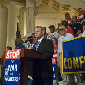 Rep. Harkins speaks in support of union labor during a Teamsters' rally in Harrisburg on April 11.