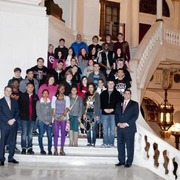 State Rep. Mark Rozzi welcomes students from Antietam High School to the state Capitol. Rozzi gave students a tour of the House Chambers and shared information with them about a legislative session day in Harrisburg.