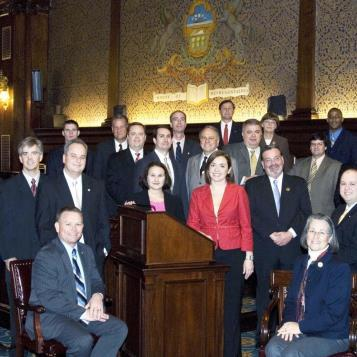 Rep. Harkins, seated at left, is pictured with other Democratic members of the 2007-08 freshman class of the Pennsylvania House of Representatives.