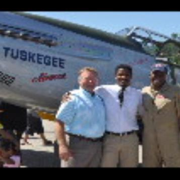 Rep. Harkins greets Nate Parker (center) and Bradford Lang (right) on