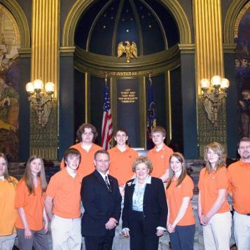 Rep. Harkins and Lt. Gov. Catherine Baker Knoll welcome Team 291-CIA to the House of Representatives. The team, which includes students from Erie Central High School, Northwest Pennsylvania Collegiate Academy and Villa Maria Academy, won first place in the Philadelphia Regionals of the 2007 For Inspiration and Recognition of Science and Technology (FIRST) Robotics competition. Pictured are (back row, left to right) Adam Last, John Curtin, Chris Wehrer, (front row, left to right) Molly Homchenko, Emily Last, Tom Pomorski, Rep. Harkins, Lt. Gov. Knoll, Erica DiLuzio, Alex Phadt and Peter Reed.
