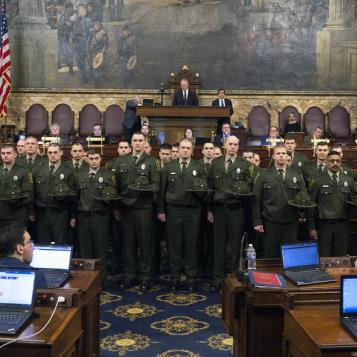 The state's games wardens were sworn in during a ceremony in the House chamber on February 21, 2019.
