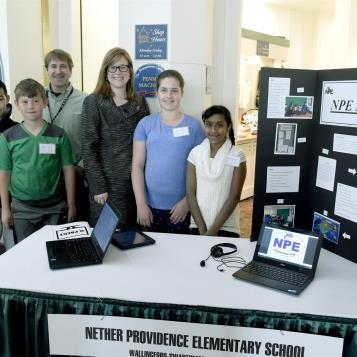 The NPE News project with Rep Krueger-Braneky had a display in the East Wing Rotunda of the State Capitol.