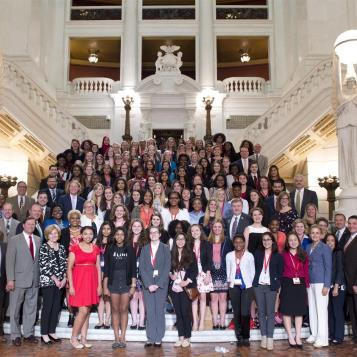 Lawmakers from across the state welcome Girl Gov students, all of whom travelled to Harrisburg to learn about civics, advocacy, philanthropy, community involvement, youth organizing, women's history & leadership.
