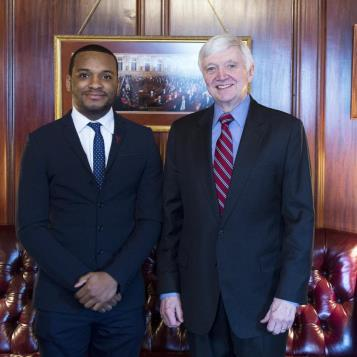 Democratic Leader Frank Dermody welcomes Temple University's first Rhodes Scholar, Hazim Hardeman, to Harrisburg.  Rhodes Scholarships are the oldest and generally regarded as the most prestigious international academic award available to Americans.