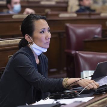 Rep. Patty Kim attends voting session in Harrisburg during the Covid-19 pandemic.