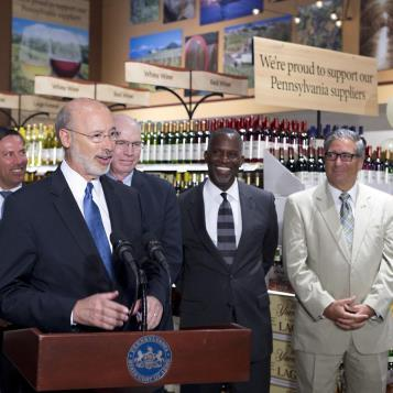 Rep. Paul Costa, the Democratic Chair of the House Liquor Control Committee, joins Gov. Tom Wolf in the rolling launch of wine sales in grocery sales in Pennsylvania, bringing convenience to customers and more jobs and revenue to the state.