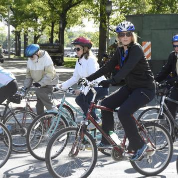 Rep. Madeleine Dean and DCNR Secretary Cindy Adams Dunn participate in the annual Bike To Work event, which serves as a way to get closer to nature, as well as keeping down pollution and congestion on roadways.