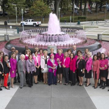 Lawmakers from both sides of the aisle come together to show support for October being Breast Cancer Awareness Month.
