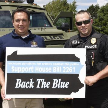 Rep. Frank Burns receives support for his Blue Lives Matter legislation, which would make assault on a law enforcement officer a hate crime in Pennsylvania.