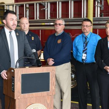 Rep. Bizzarro hosted a news conference June 4, 2015 at West Lake Fire Department in Erie. At the event, Bizzarro voiced his support for legislation that would exempt emergency responders from paying more than $47 in fees for state and federal background clearances.