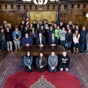 Our Photo of the Day features students from Antietam Middle-Senior High School visiting the Capitol with Rep. Mark Rozzi and Governor Tom Wolf.