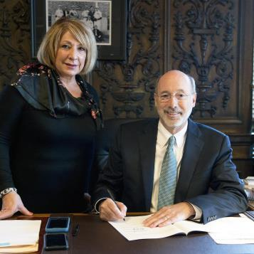 Gov. Tom Wolf signs into law a measure authored by Rep. Maria Donatucci designed to better protect the identity of victims, witnesses, and other people placing 911 calls.
