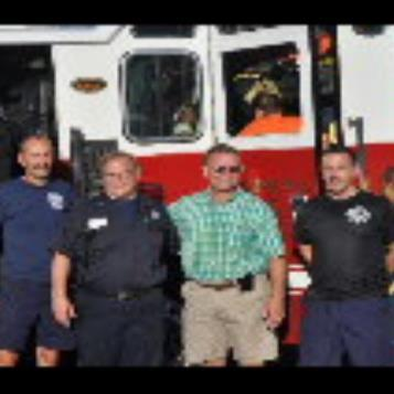 Rep. Harkins joined local firefighters during the community 'Light the Night' event as a part of the National Night Out.  From left to right&#59; Mark Polanski, Lt. Gary Lamb, the Honorable Pat Harkins and Allen Casey. 'Light the Night'  was held at the John F. Kennedy Community Center in Erie,from 5pm.-8:00pm on August 7.