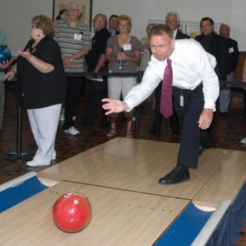 "Rep. Harkins throws a ""Strike For Hunger"" at a bowling event to raise money for food banks, and to raise awareness of Pennsylvania's 1.2 million hungry citizens."