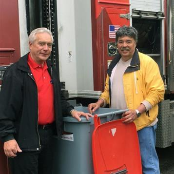 Rep. Dom Costa is pictured with Iron City Workplace Services CFO Kerry Fowler at a shredding event where over 10,000 pounds of papers and old documents were collected, saving trees, water, energy, and landfill space.