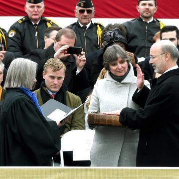 Photo of the day. Governor Tom Wolf takes the Oath of Office.