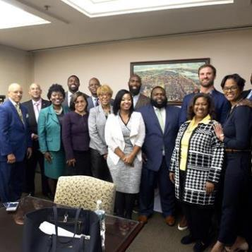 Rep. Kirkland is joined at a Harrisburg news conference with members of the Pennsylvania Legislative Black Caucus, along with Philadelphia Eagles Malcolm Jenkins, Torrey Smith, and Chris Long, to discuss legislation dealing with criminal justice reform and clean slate legislation.