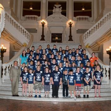 Rep. Pashinski welcomes students from Bear Creek Community Charter School during a visit to the state Capitol.