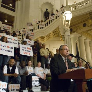 "Rep. Pashinski spoke to a large Capitol rally to oppose Gov. Corbett's proposed 20 percent cut to services for people with intellectual disabilities. When Pashinski shouted, ""Gov. Corbett"" the crowd responded: ""Keep your promises!"""
