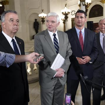 Democratic Leader Frank Dermody is joined by Appropriations Committee Democratic Chairman Joe Markosek and Republican leaders at a news conference shortly after the House passed a $31.55 billion General Fund budget that boosts education funding and avoids broad-based tax increases.