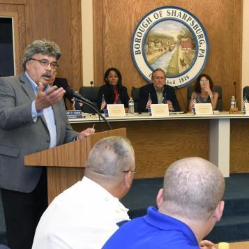 Rep. Dom Costa speaks at his public forum on the issue of heroin and opioid addiction and discussed ways to work together with area law enforcement, health care professionals, and drug and addiction specialists to combat the epidemic.