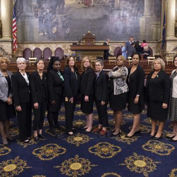 Rep. Leanne Krueger-Braneky and her colleagues wear black in solidarity with survivors of sexual violence and Dr. Blasey Ford.