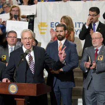 Rep. Dan Frankel stands with Gov. Tom Wolf, House colleagues, and other advocates at an Equality PA news conference to call on the legislature to pass equal protections for LGBT citizens.