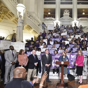 "Rep. Brian Kirkland participates in an SEIU ""Workers Rise-Up Day"" rally in Harrisburg."