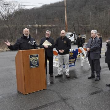 "Rep. Rob Matzie joined Gov. Tom Wolf as the governor stopped in Aliquippa to outline his ""Restore Pennsylvania"" initiative."