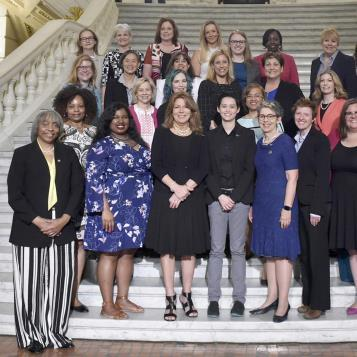 Rep. Leanne Krueger-Braneky joins her female colleagues in the House as they welcome members of Emerge Pennsylvania to the state Capitol for a Shadow Day for the recent graduates.