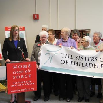 Rep. Leanne Krueger-Braneky teamed up with the Sisters of St. Francis and Moms Clean Air Force at a press conference to call on the legislature to allow new gas drilling regulations to pass.