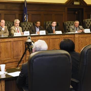 Members of the House Democratic and Republican Policy Committees, along with members of the HOPE Caucus, participate in a public hearing in Pittsburgh with experts from the Allegheny County Department of Human Services, Allegheny County Bureau of Drug and Alcohol Services, and members of the Attorney General's Office to hear testimony on the heroin and opioid overdose crisis sweeping the state.