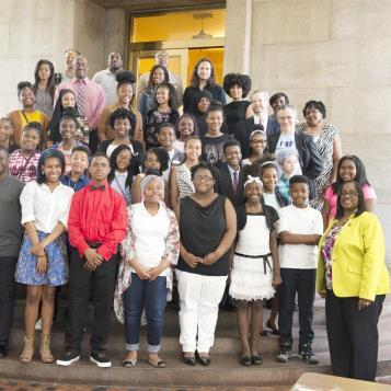 Rep. Tonyelle Cook-Artis welcomes students and faculty from Houston Elementary School, as well as artists from Live Connection, to highlight the impact of high quality arts programs in schools.