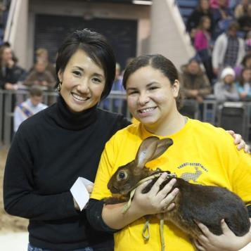 State Rep. Patty Kim is pictured with a student rabbit handler before participating in the Rabbit Hopping Contest at the 101st Pennsylvania Farm Show.